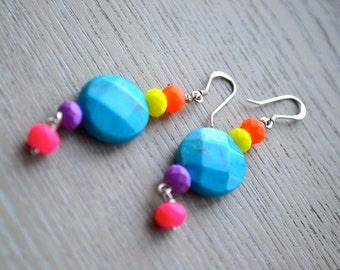 Beautiful Neon & Turquoise Earrings, Boho, Bohemian