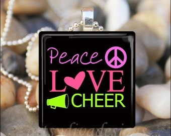 PEACE LOVE CHEER Proud Cheerleader Glass Tile Pendant Necklace Keyring