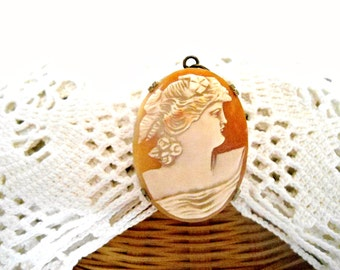 Vintage Cameo Brooch Pendant - Edwardian Shell Cameo Brass Setting Necklace