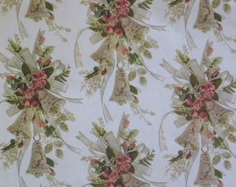 Vintage Hallmark WEDDING Gift Wrap Wrapping Paper - Lacy BELLS and Pink ROSES - 1960s