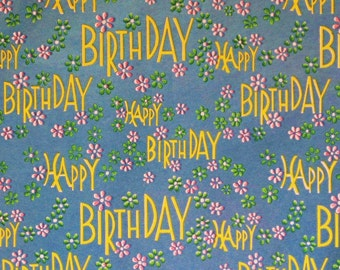 Vintage Dennison Superfine Gift Wrap - Wrapping Paper - HAPPY BIRTHDAY - Metallic Green Color - 1950s