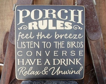 Wood Sign, Porch Rules, Porch, Handmade, Word Art