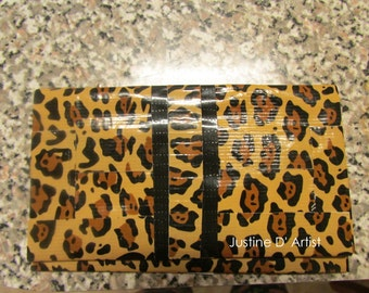 Leopard & Black Duct Tape Business Card Case