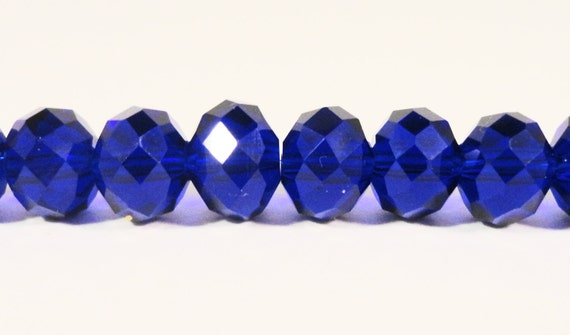 """Rondelle Crystal Beads 8x6mm (6x8mm) Royal Blue Faceted Chinese Crystal Glass Beads for Jewelry Making on an 8 1/2"""" Strand with 35 Beads"""