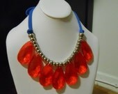 Drops of Jupiter Necklace in Bright Red and Blue (Ole Miss)