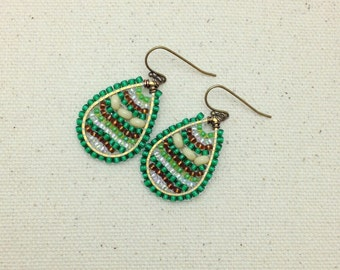 Green, Brown and White Teardrop Colorful Woven Earrings Wire Wrapped