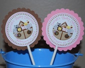 Noahs Ark Pink Cupcake Toppers - Set of 12 Personalized Birthday Baby Shower Decorations