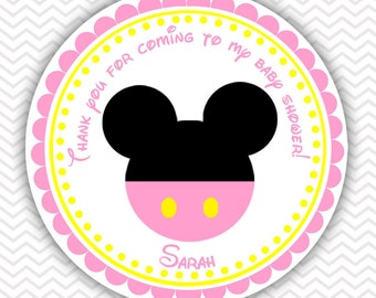 Baby Pink Minnie - Personalized Stickers Baby Shower Birthday , Party Favor Tags, Thank You Tags, Gift Tags, Address labels, Baby Shower