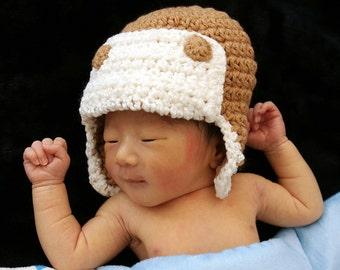 Aviator Hat, Crochet Baby Hat, Eskimo Hat, Pilot Hat, Bomber Hat, Baby Hat, photo prop
