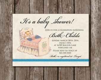 Vintage Baby Shower Invite//Baby Cradle//Classic//Digital File