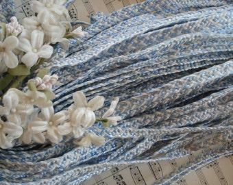 1y Vintage French c1940's Bue White Millinery Braided Raffia Straw Ladies Hat Cloche Trim Wedding Bridal Ribbon