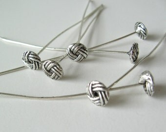 """10 antique silver finish alloy head pins 2"""""""