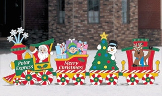 Christmas polar express train wood outdoor yard art by