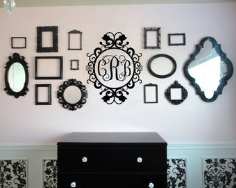 Damask Monogram Initial Vinyl Wall Art