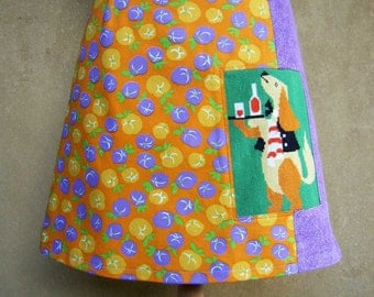 Cartoon Dog Serving a Drink vintage cotton embroidery, lilac corduroy, A-line skirt, orange yellow green, size Small