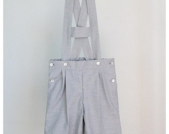 Boys Shorts - Gray light oxford cotton blend short overalls - Shortalls with H bar suspenders