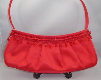 Red Satin Crystal Evening Bag