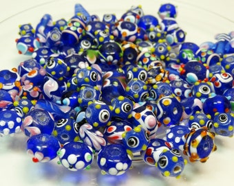 Lamp Work Beads, Blue Lamp Work Beads, Assorted Lamp Work Beads
