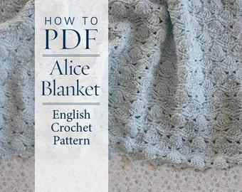 Crochet Pattern PDF diy pattern English instructions for Alice Blanket including a Chart - ready for immediate download - by CrochetObjet