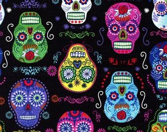 Timeless Treasures Folklore Sugar Skulls on Black by the Yard