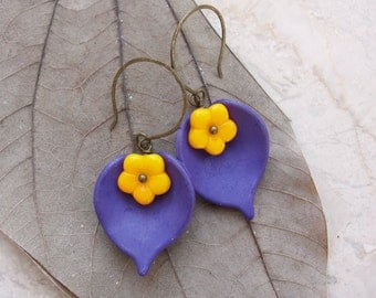 Purple Yellow Leaf Earrings Resin and Glass Floral Jewelry