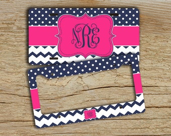 Personalized front license plate or frame , Chevron car tag , Hot pink navy blue dots chevron , Auto accessory , Bike license plate  (1274)