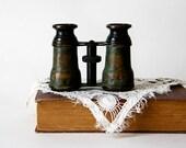 Vintage Opera Glasses victorian patina black green brass copper antique opera glasses binoculars