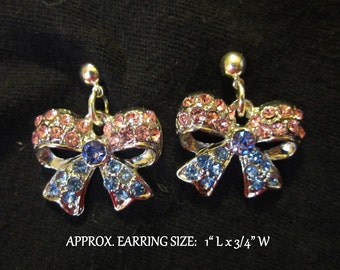 Crystal Bow Earrings-Pink / Blue Ribbon Bows Handmade Silver Ball Post Pierced OR Clip On