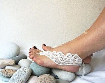 LUX Lace Jewelry Wedding Bridesmaids White Barefoot Sandals,Wedding Gloves,Wedding Shoes , Victorian Lace, beach wedding