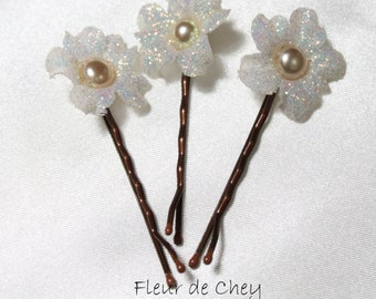 Three Glittered Curly Blossom Bobby Pins with Pearl Center- Handmade Floral Headpiece for Hair