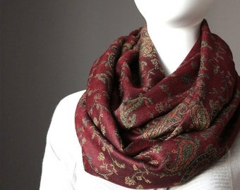 Merlot pashmina Scarf , infinity  scarves, red scarf, infinity dark red scarf, red pashmina