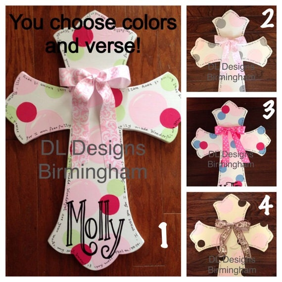 Custom baby girl cross hospital door hanger or nursery wall for Baby girl hospital door decoration
