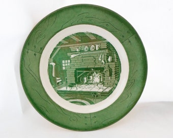 Vintage, Dinner, Plate, Colonial Homestead, Green & White, Set of 2, Royal, USA, Cottage Chic, Serving