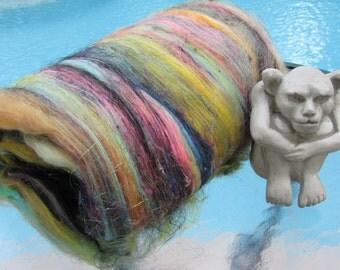 DARKEST BEFORE DAWN 4.0 oz, spinning fiber, fiber art batt, batt, sari silk, bling batt, Angelina, felting fiber, fiber batt, art batt