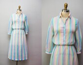 Vintage 'Rainbow Bright' Dress / Colorful 3/4 Length Sleeve / Day Dress / Medium
