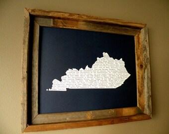 Kentucky In A Nutshell Word Art Map Print (Dark Blue) - Unframed