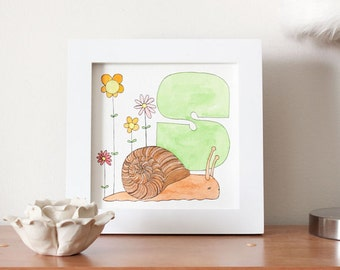 S is for Snail original watercolor painting