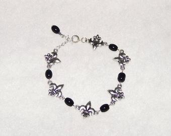 Black/Silver Fleur de Lis Bracelet