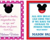 Mickey and Minnie Prints, two TWINS Print- 8 x 10, Wall Art, Twins Print, Disney, Nursery Art