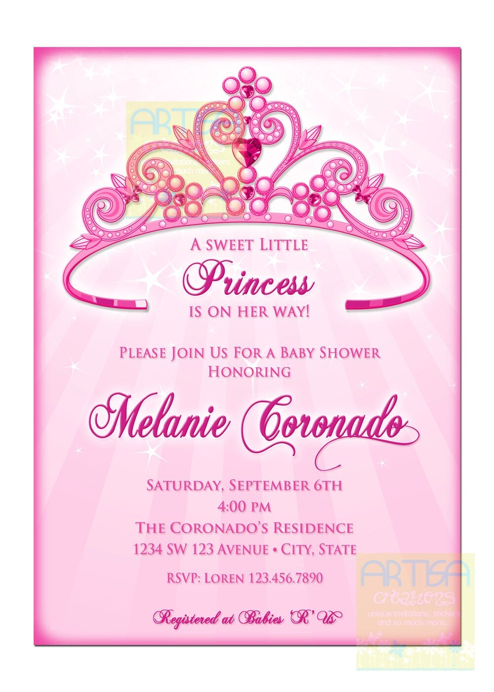 princess baby shower invitation diy princess crown baby