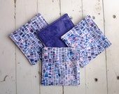 Fabric Coasters With Mosaic Motif in Shades Purple With Deep Purple Floral on Reverse Side Set of Four