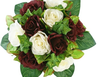 Burgundy and Ivory Silk Rose Nosegay - Bridal Wedding Bouquet