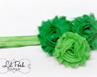 Girls St. Patricks Day Green Chiffon Flower Shamrock Headband
