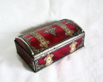 Avast Ye! Shabby old red tin box, Fleur de lis, Vintage, Pirate treasure chest, Turkish chewing gum container. Rustic dresser decor, storage