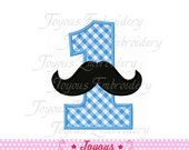 Instant Download  Mustache Number 1 Applique Machine Embroidery Design NO:1443