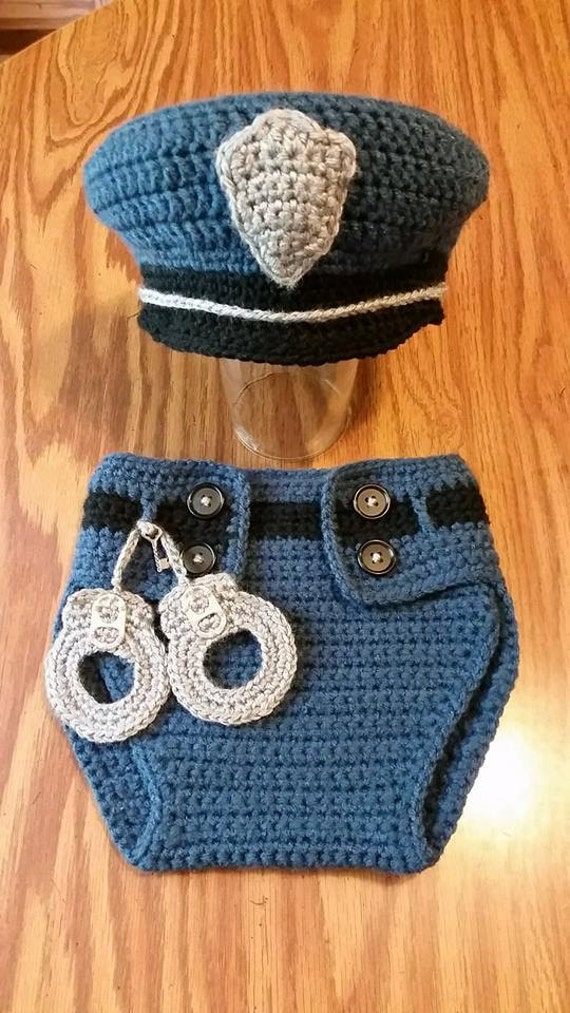 Easy Crochet Pattern For A Baby Hat : PATTERN infant photo prop costume police officer cop with