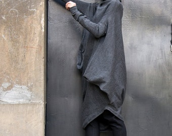 Oversize Dark Grey Loose Casual Top / Asymmetric Raglan Long SleevesTunic Knit Top / Maxi Blouse Turtle neck Tunic A02058