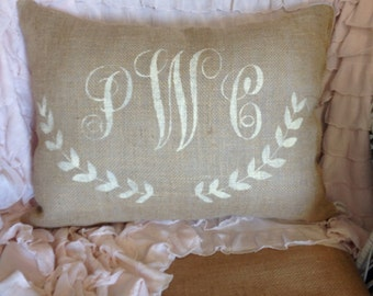 monogram pillow, laurel wreath monogram pillow pillow, burlap pillow, personalized pillow, throw pillow