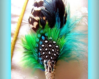 Men Women Hat Pins Brooch Hair attire Fascinator in Blue, Brown and Tan, Blue Feathers My Design Handmade Men Women Unisex