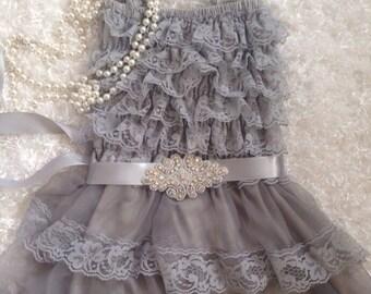 Silver/Grey PettiDress/Grey Lace Dress/FlowerGirl Dress/Grey Headband/Grey  Dress/Rhinestone Sash/Pageant/PhotoProp/First Birthday Dress